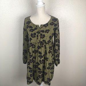 Old Khaki  Poppy Print Boho Dress Long Sleeve